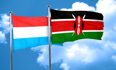 kenya: Luxembourg flag with Kenya flag, 3D rendering