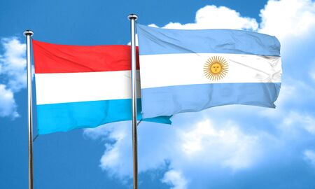argentine: Luxembourg flag with Argentine flag, 3D rendering