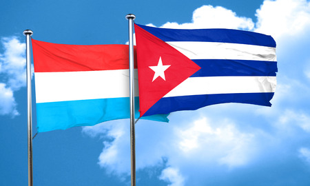 bandera cuba: Luxembourg flag with cuba flag, 3D rendering