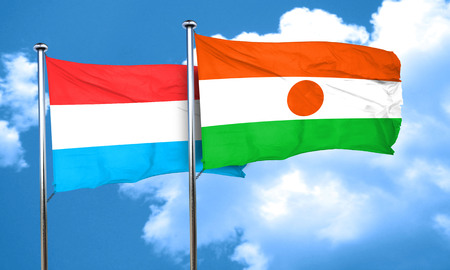 luxembourg: Luxembourg flag with Niger flag, 3D rendering