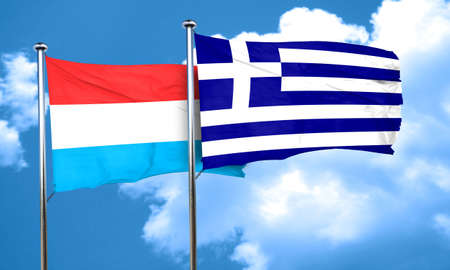 greece flag: Luxembourg flag with Greece flag, 3D rendering