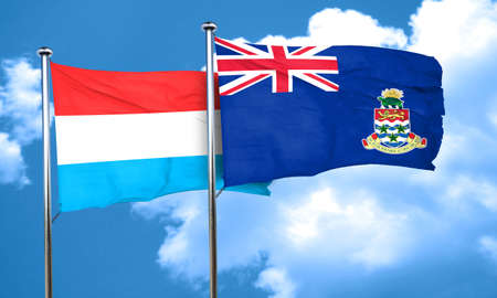 cayman: Luxembourg flag with Cayman islands flag, 3D rendering