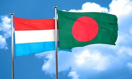 bangladesh: Luxembourg flag with Bangladesh flag, 3D rendering Stock Photo