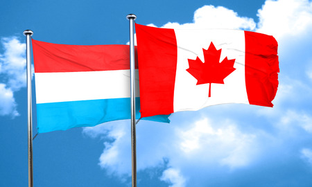 luxembourg: Luxembourg flag with Canada flag, 3D rendering