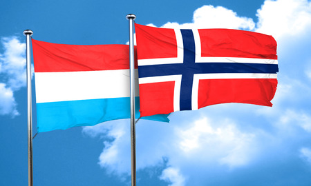 norway flag: Luxembourg flag with Norway flag, 3D rendering