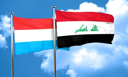 iraq flag: Luxembourg flag with Iraq flag, 3D rendering