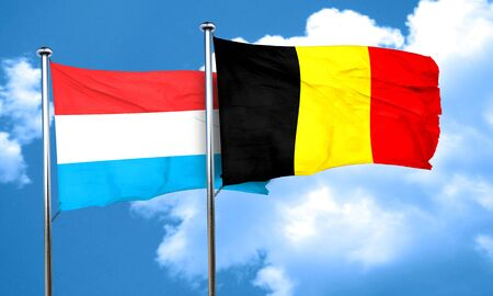 luxembourg: Luxembourg flag with Belgium flag, 3D rendering