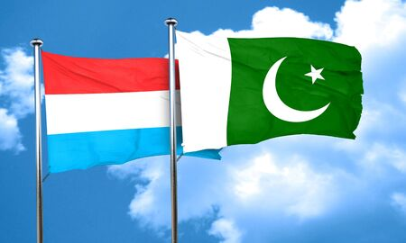 pakistan flag: Luxembourg flag with Pakistan flag, 3D rendering Stock Photo