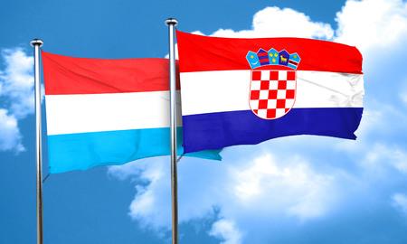 croatia: Luxembourg flag with Croatia flag, 3D rendering Stock Photo