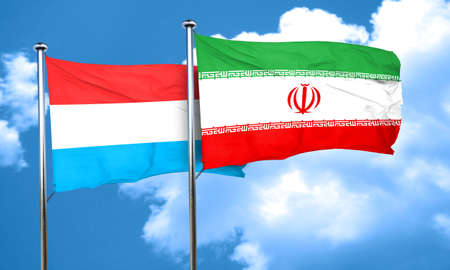 luxembourg: Luxembourg flag with Iran flag, 3D rendering Stock Photo