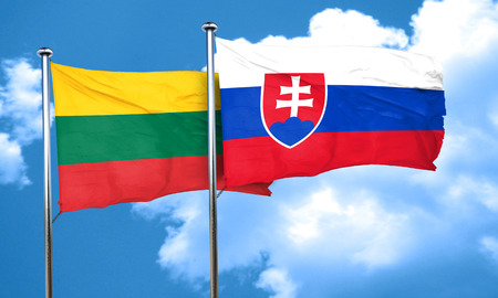 lithuania: Lithuania flag with Slovakia flag, 3D rendering
