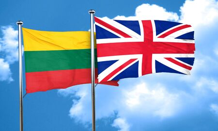 great britain flag: Lithuania flag with Great Britain flag, 3D rendering