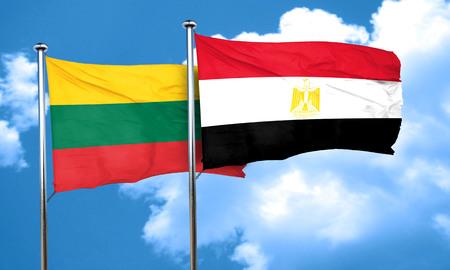 egypt flag: Lithuania flag with egypt flag, 3D rendering Stock Photo