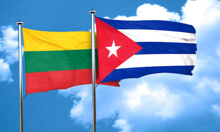 flag of cuba: Lithuania flag with cuba flag, 3D rendering Stock Photo