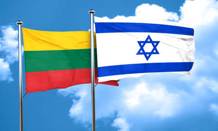 israel flag: Lithuania flag with Israel flag, 3D rendering