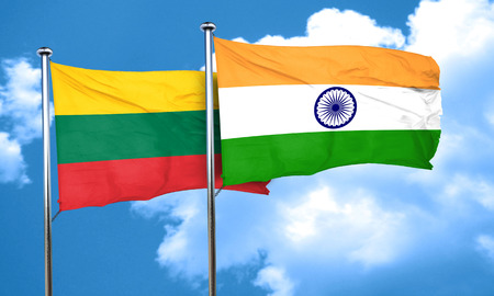 lithuania: Lithuania flag with India flag, 3D rendering