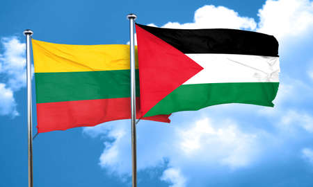 lithuania flag: Lithuania flag with Palestine flag, 3D rendering Stock Photo