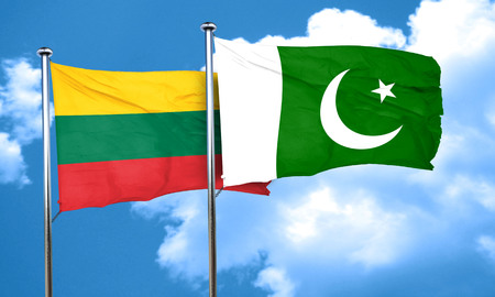 lithuania: Lithuania flag with Pakistan flag, 3D rendering