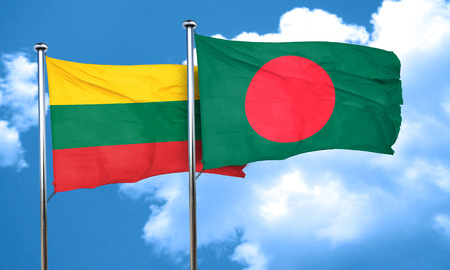 lithuania: Lithuania flag with Bangladesh flag, 3D rendering