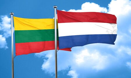 lithuania: Lithuania flag with Netherlands flag, 3D rendering