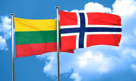 norway flag: Lithuania flag with Norway flag, 3D rendering