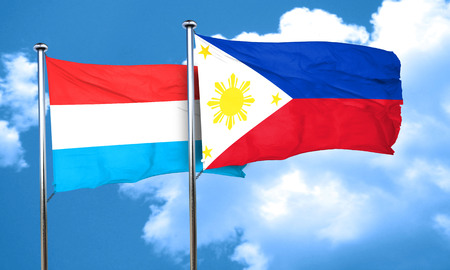 philippino: Luxembourg flag with Philippines flag, 3D rendering Stock Photo