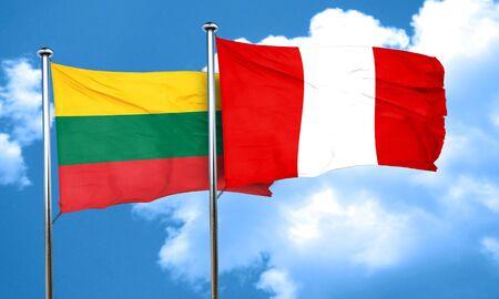 bandera de peru: Bandera de Lituania con la bandera de Perú, 3D