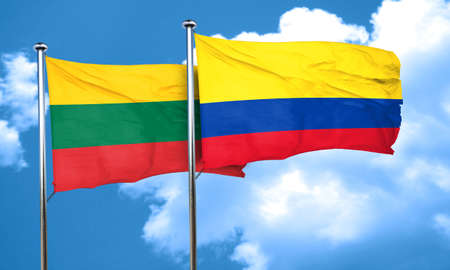 colombia flag: Lithuania flag with Colombia flag, 3D rendering