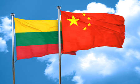 lithuania: Lithuania flag with China flag, 3D rendering