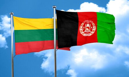 afghanistan flag: Lithuania flag with afghanistan flag, 3D rendering