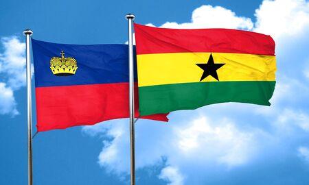 ghanese: Liechtenstein flag with Ghana flag, 3D rendering