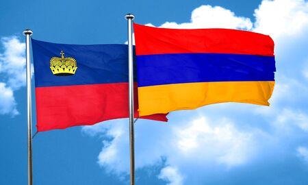 liechtenstein: Liechtenstein flag with Armenia flag, 3D rendering