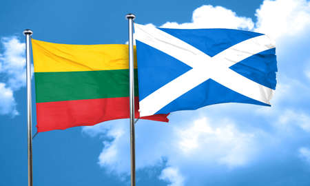 lithuania: Lithuania flag with Scotland flag, 3D rendering