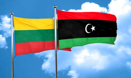 lithuania: Lithuania flag with Libya flag, 3D rendering
