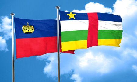 central african republic: Liechtenstein flag with Central African Republic flag, 3D rendering