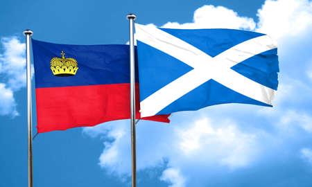 liechtenstein: Liechtenstein flag with Scotland flag, 3D rendering