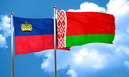 liechtenstein: Liechtenstein flag with Belarus flag, 3D rendering