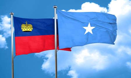 liechtenstein: Liechtenstein flag with Somalia flag, 3D rendering