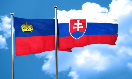 slovakia flag: Liechtenstein flag with Slovakia flag, 3D rendering Stock Photo