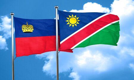 liechtenstein: Liechtenstein flag with Namibia flag, 3D rendering Stock Photo