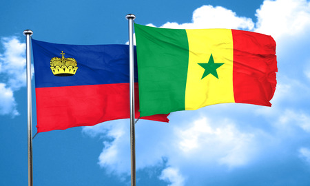 senegal: Liechtenstein flag with Senegal flag, 3D rendering Stock Photo