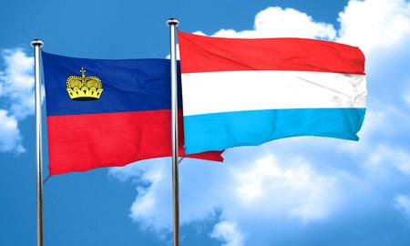 luxembourg: Liechtenstein flag with Luxembourg flag, 3D rendering