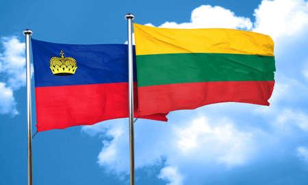 liechtenstein: Liechtenstein flag with Lithuania flag, 3D rendering