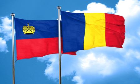 liechtenstein: Liechtenstein flag with Romania flag, 3D rendering Stock Photo