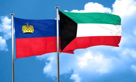 liechtenstein: Liechtenstein flag with Kuwait flag, 3D rendering