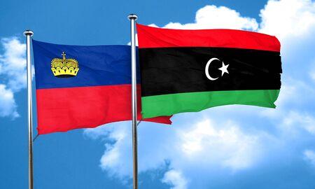 liechtenstein: Liechtenstein flag with Libya flag, 3D rendering