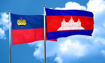 liechtenstein: Liechtenstein flag with Cambodia flag, 3D rendering Stock Photo