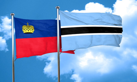 liechtenstein: Liechtenstein flag with Botswana flag, 3D rendering Stock Photo