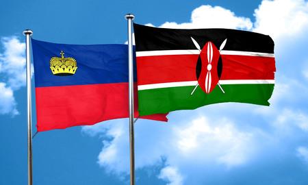 liechtenstein: Liechtenstein flag with Kenya flag, 3D rendering Stock Photo