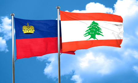 liechtenstein: Liechtenstein flag with Lebanon flag, 3D rendering Stock Photo